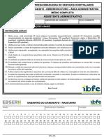 Ibfc 2016 Ebserh Assistente Administrativo Prova FURG