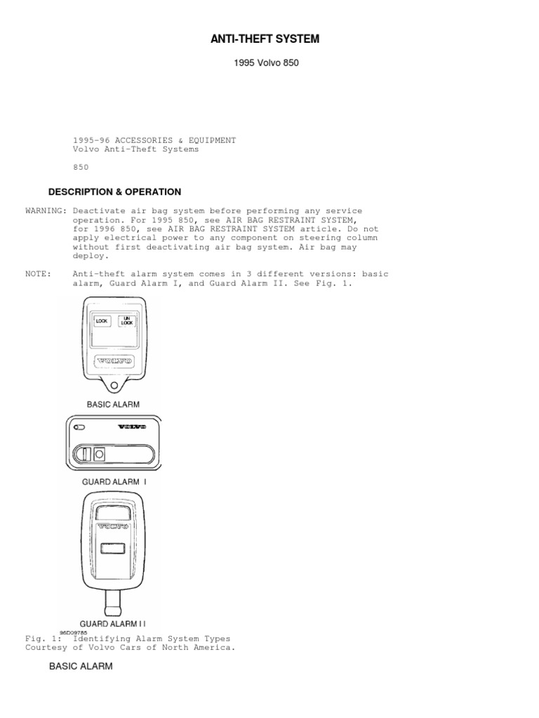anti theft system pdf electrical connector voltageVolvoguard Ii 2 Late Production 1996 Grand Alarm System Wiring Diagram #17