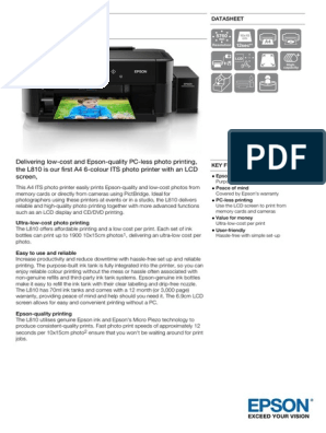 Epson L810 A4 6-colour Single Function Ink Tank System Photo