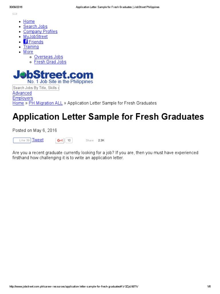 Application letter sample for fresh graduates jobstreet application letter sample for fresh graduates jobstreet philippines human resource management rsum altavistaventures Gallery