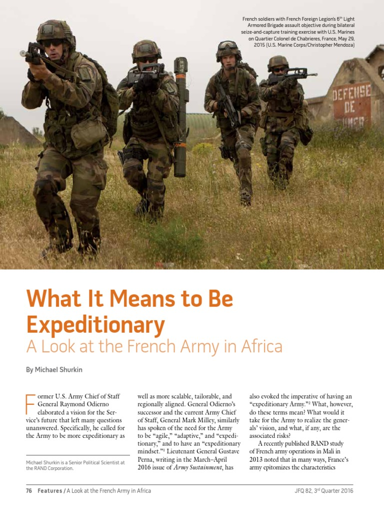 military resume examples infantry%0A What It Means to Be Expeditionary  A Look at the French Army in  Africa jfq        Shurkin pdf   Tanks   United States Army