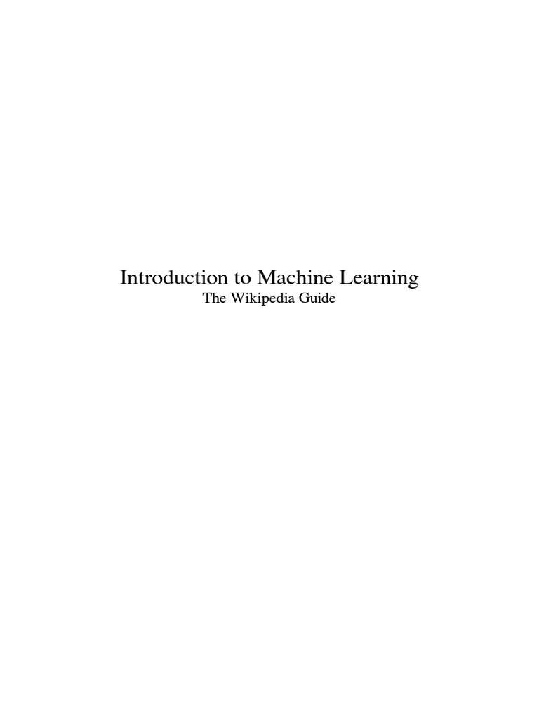 Introduction to Machine Learning - Wikipedia | Statistics | Mathematical  Analysis