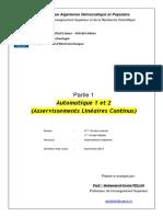 Cours Complet Automatique - Asservissements Linéaires Continus