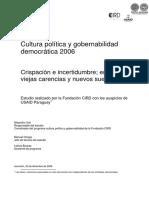 CULTURA POLITICA Y GOBERNABILIDAD DEMOCRATICA - ALEJANDRO VIAL - ANO 2006 - PORTALGUARANI