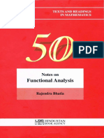 Notes On Functional Analysis By Rajendra Bhatia