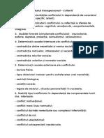Analiza Conflictului Intrapersonal - Criterii