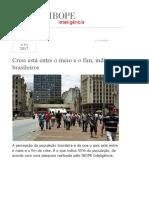 Crise Está Entre o Meio e o Fim, Indicam Brasileiros Segundo IBOPE Inteligência
