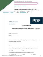 Questionaire &Amp; Implementation of GST - Public Opinion Questionnaire