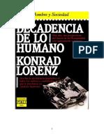 Lorenz Konrad - Decadencia de Lo Humano