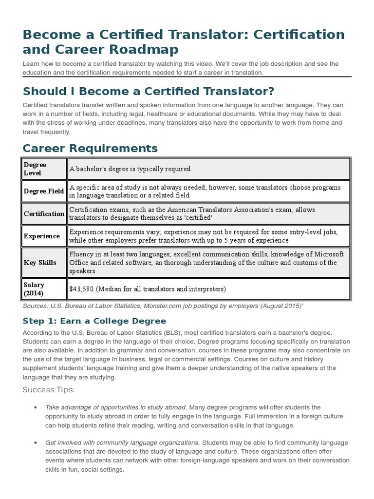Become A Certified Translator Translations Professional