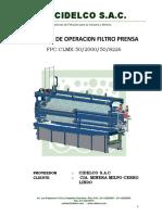 Manual de Operaci0n Filtro Prensa Cerro Lindo