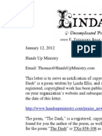 Linda Ellis Copyright - Extortion Letter Hands Up Ministry
