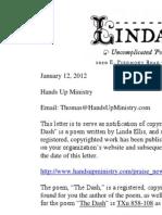 Linda Ellis Copyright - Extortion Letter Hands Up Ministry