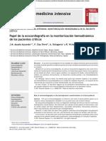 Papel de La Ecocardiografía en La Monitorización Hemodinámica en Paciente Critico