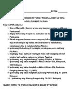 Pagsusulit Sa Komunikasyon at Pananaliksik Sa Wika at Kulturang Pilipino