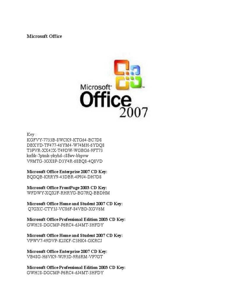 CD Key Microsoft Office 2007   Microcomputer Software