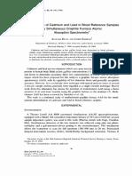 determinação de cadmio espectroscopia