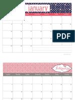 2017 Calendar in Coral Navy by Blooming Homestead