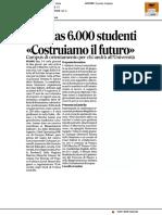 """Al Palas 6.000 studenti """"Costruiamo il futuro"""" - Il Corriere Adriatico del 22 febbraio 2017"""