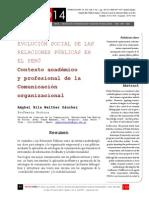 Icono14. A8/V2. Evolución social de las Relaciones Públicas en el Perú. Contexto académico y profesional de la Comunicación organizacional