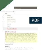 25th Amendment PresidentialTransfersand Sttus
