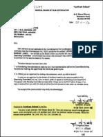 Lettre annonçant la décision du Bureau de la censure