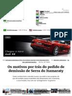 Os Motivos Por Trás Do Pedido de Demissão de Serra Do Itamaraty - InfoMoney