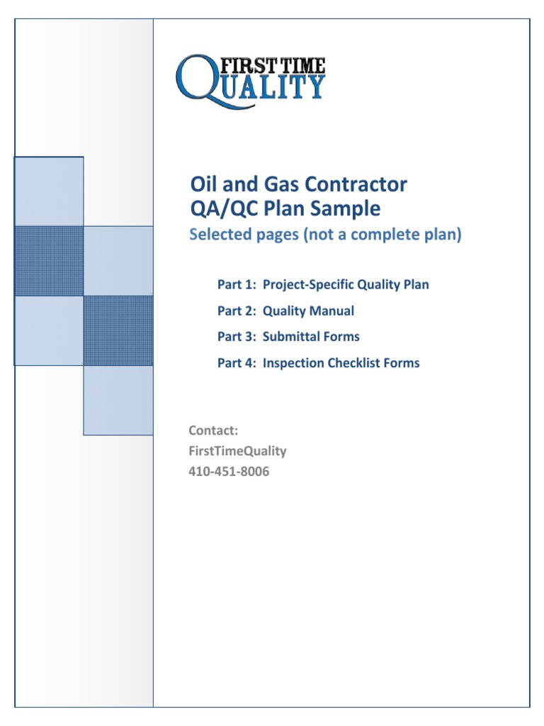 Oil and Gas Quality Control Plan Sample | Hvac | Quality Assurance