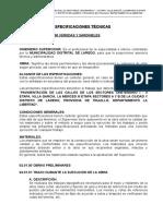 Especificaciones Tecnicas Veredas y Sardineles