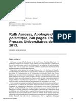 Ruth Amossy, Apologie de La Polémique, 240 Pages