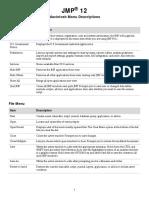 JMP 12 Macintosh Menu Descriptions
