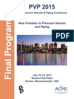 PVP 2015. 2015 Pressure Vessels & Piping Conference. New Frontiers in Pressure Vessels and Piping. Final Program