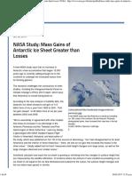 NASA Study Mass Gains of Antarctic Ice Sheet Greater Than Losses NASA