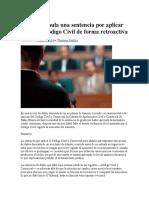 Se Declara Nula Una Sentencia Por Aplicar El Nuevo Código Civil de Forma Retroactiva