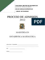 Examen Maestría Estadística Matemática UNMSM