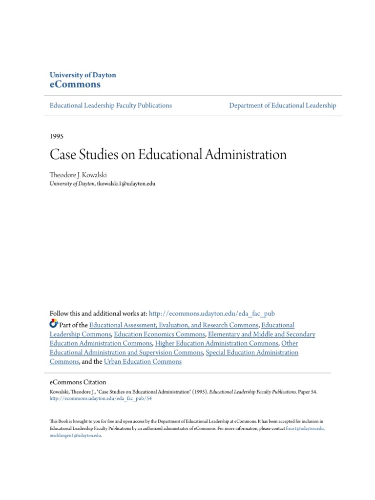 Case Studies on Educational Administration   Transformational