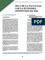 Notas Acerca de La Facultad de Regular La Economía en La Constitución de 1991