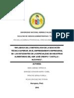 Educación Técnica Superior y El Emprendimiento Empresarial en Los Estudiantes de La Especialidad de Industrias Alimentarias Del Isep José Crespo y Castillo