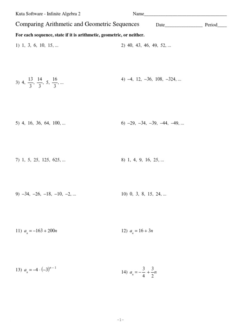 worksheet Arithmetic And Geometric Sequences Worksheet Answers 1525332368v1