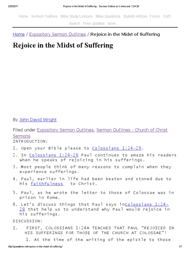 Rejoice in the Midst of Suffering - Sermon Outline on Colossians 1