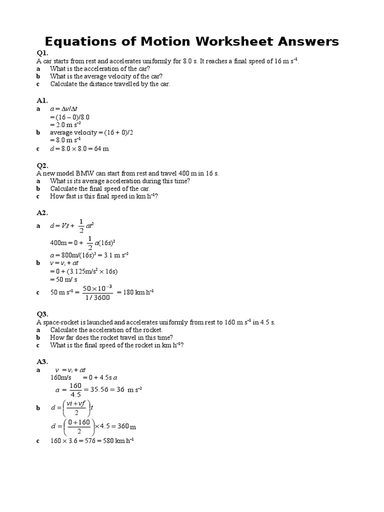 Equations of Motion worksheet with answers hw11doc – Speed Calculation Worksheet