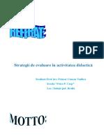 Strategii de Evaluare in Activitatea Didactica