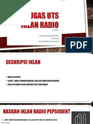 Tugas Iklan Radio Pepsodent Ghazian Advertising Universitas Indonesia