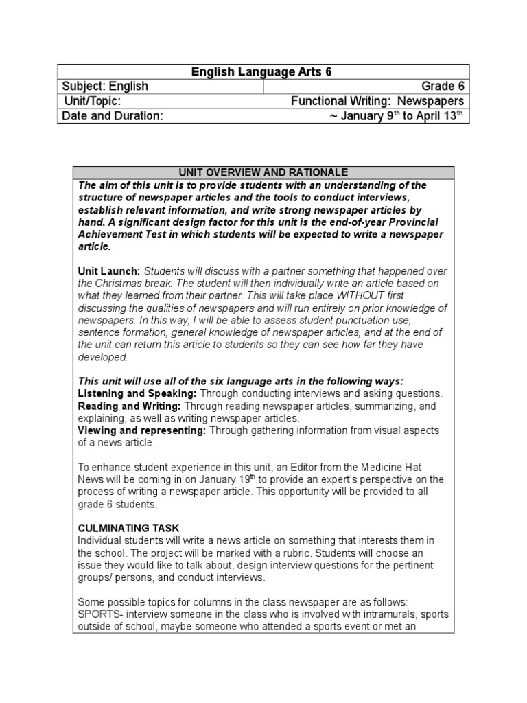 Newspapers Unit Plan  Educational Assessment  News