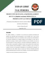 1. Produccion de Etanol a Partir de Almidon de Yuca Mediante La Fermentacion Alcoholica