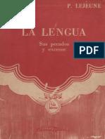 La Lengua Sus Pecados y Excesos P. Lejeune