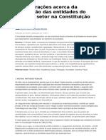 Considerações Acerca Da Tributação Das Entidades Do Terceiro Setor Na Constituição Federal