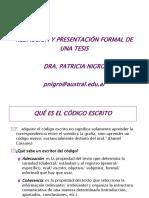 Redaccion y Presentacion de Una Tesis Dra Paty Nigro