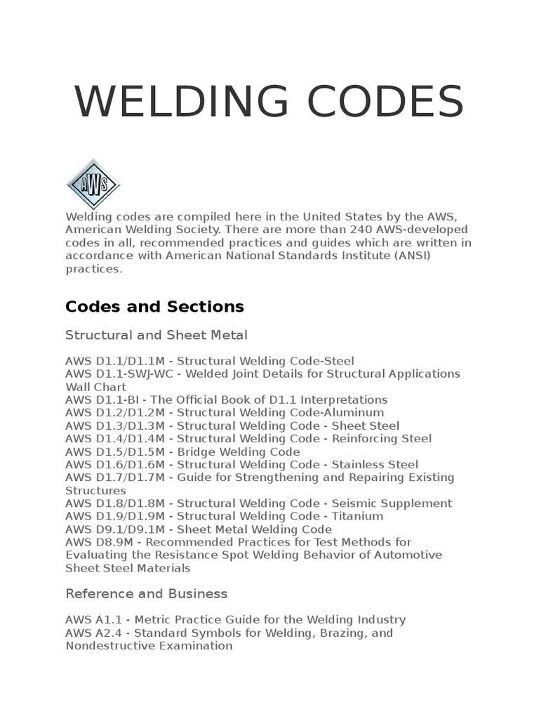 Aws Welding Codes Welding Steel