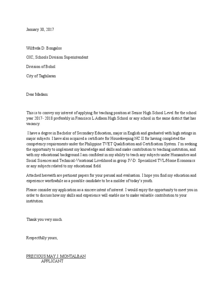 Letter of intent for teacher 1 senior high school applicant thecheapjerseys Images